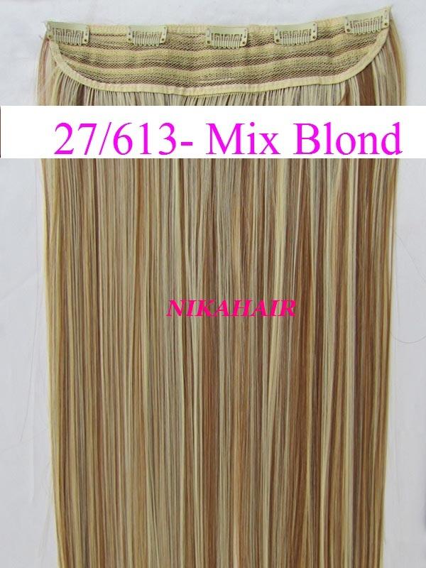 Clip in vlasy - 60 cm dlhý pás vlasov - odtieň 27 613 - mix blond fe11c31cf27